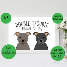 A3 Staffie Print Double Trouble Custom Dog Gift Staffordshire Bull Terrier Print Personalised Staffy Gift Bull Terrier Poster Art