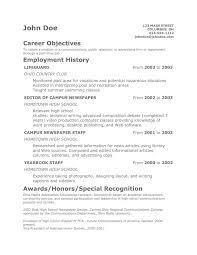 Resume Objectives Examples Resume Work Template