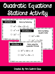 quadratic equations stations activity a fun way for students to review solving quadratic equations using