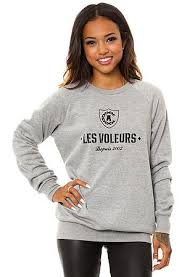 The Les Voleurs Crewneck in Grey by <b>Crooks</b> and <b>Castles</b>