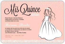 Invitation Quincenera Peach White Princess Dress Quinceanera Invitation