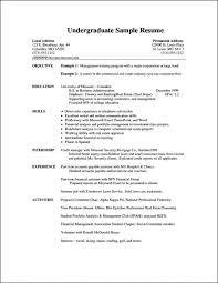 Undergraduate Resume Format Student Curriculum Vitae Pdf College For
