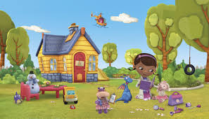 She practices her dream by fixing toys and dolls. Jl1301m Walt Disney Kids Ii Doc Mcstuffins Mural Walt Disney Kids Mural Wallpaper Border Kids
