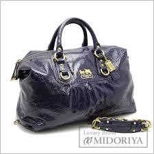 Auth COACH Madison Patent Large Sabrina 2WAY Handbag 12948 Purple 59468  FREESHIP