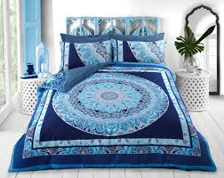 paisley mandala blue quilt cover set