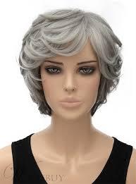رمادي طبقات متموجة كابليس الاصطناعية الشعر القصير شعر مستعار