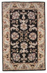 traditional hand tufted wool 5x8 area oriental rug carpet antique black beige