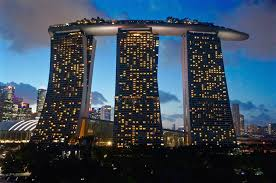 infinity pool singapore. Infinity Pool At Marina Bay Sands - Singapore View From The Supertree Canopy Gardens