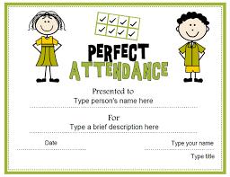 Attendance Award Template Education Certificates Perfect Attendance Award