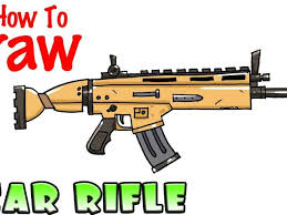 Easy Drawings Guns How To Draw The Scar Rifle Fortnite Youtube