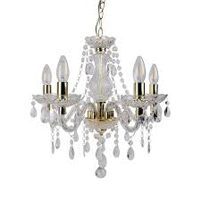 details about modern classic clear gold marie therese 5 light ceiling pendant chandelier
