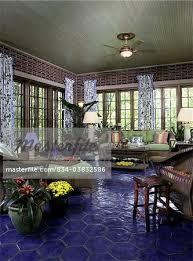sunrooms colors. SUNROOMS: Cobalt Blue Hexagon Tile Floor, Brick Walls, Floral Pattern  Drapes, Green Sunrooms Colors R