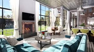 Living Room Mansion Art Deco Turquoise Sofa Black And White Tile Floor