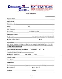 Rental Credit Application Contractors Choice Tool And Equipment Rental Credit
