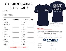T Shirt Order Forms TShirt Order Form Gadsden Kiwanis Club 24