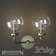 rh bistro globe clear glass double sconce
