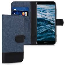 kwmobile wallet case for huawei y6 2018 fabric and pu leather flip cover with card slots and stand dark blue black on on