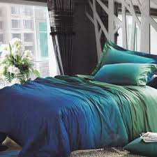 unique bedroom interior with blue green grant bedding sets and reactive printing bed sheet technology