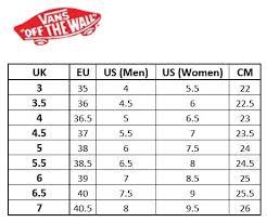 Matter Of Fact Vans Size Chart Cm Japan Vans Foot Size Chart