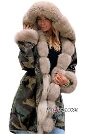 fashion hooded faux fur coats camouflage warm winter coats