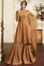 Designer Sharara Suits Georgette Chikoo Color Fancy Embroidered Designer Sharara Suit
