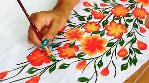 Free Painting Designs Free Hand Bel Painting Design On Kurtis Sarees Designer Kurti Saree Border Bel Design