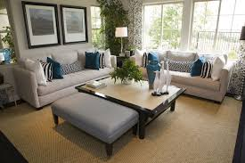 living room decorating ideas dark brown. Cottage Style Living Room With Off-white Sofas Decorated White And Blue Pillows. Decorating Ideas Dark Brown A