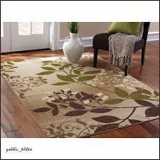 tan off white sage green brown area rug oversized leaf scroll design carpet 5x7
