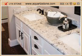 prefab double sink quartz bathroom vanity top showroom