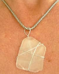 wire wrap sea glass pendant