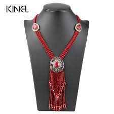 Crystal Beads Necklace Designs In Gold Us 9 68 35 Off Kinel Turkish Red Crystal Bead Necklaces For Women Gold Color Hand Made Long Pendant Tassel Necklace Vintage Jewelry 2017 New In