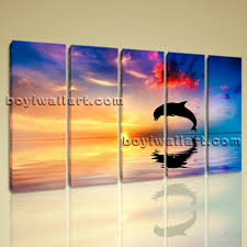 huge canvas print hd dolphin 5 pieces framed wall art gallery wrapped seascape on dolphin canvas wall art with huge canvas print hd dolphin 5 pieces framed wall art gallery