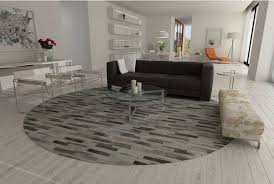 wonderful round taupe gray patchwork cowhide area rug in stripes design intended for cowhide area rug ordinary