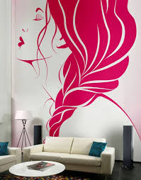bedroom wall paint designs. Living Room, Creative Wall Decor Ideas With Pink Murals Applying Beautiful Girls Face Design Beautify Modern Room: Lovely Painted Bedroom Paint Designs