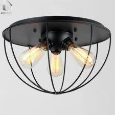 industrial flush mount. Plain Mount Black Vintage Metal Shade Industrial Flush Mount Light With 3 Lights   Unitarylighting On H