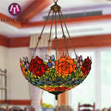 Lustre Tiffany Style Rose Pendant Lamp Bedroom Living Room Kitchen Hanging  Lights Shade Up Stained Glass ... Design Ideas