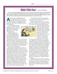 rikki tikki tavi reading comprehension set