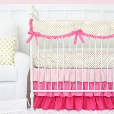 pink and gold baby bedding caden lane dot ruffle crib set yellow comforter gray star cot
