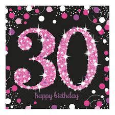 Servietten Schwarz Pink Zum 30 Geburtstag Happy Birthday Online