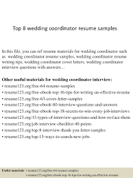 Top 8 wedding coordinator resume samples In this file, you can ref resume  materials for ...