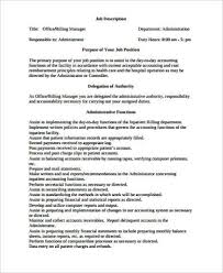 Medical Office Administration Duties Medical Office Manager Job Description Sample 6 Examples In Word Pdf