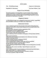 Medical Office Manager Job Description Sample 6 Examples