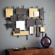 wood and iron wall decor metal square brown wrought framed