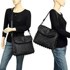 Embassy Studded Italian Stone Design Genuine Lambskin Leather Purse Scarleton Studded Skull Shoulder Bag H141701 Black
