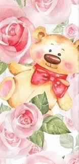 bear wallpaper flowery wallpaper wall papers teddy bear bears teddybear