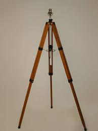 Vintage Tripod Floor Lamp W Warm Toned Wood C 1960