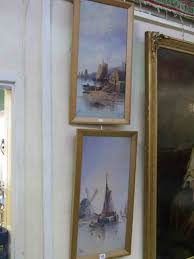 j bale dutch fishing boats in harbour pair of oil paintings on