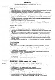 Resume Examples It Team Leader Resume Samples Velvet Jobs Team