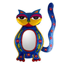 embossed tin cat themed wall mirror