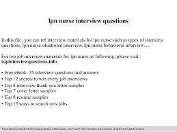 Sample Resume For Lpn Nurse Lpn Nurse Interview Questions